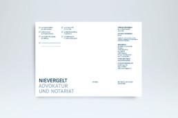 Corporate Design Antwortkarte für Advokatur Nievergelt
