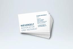 Corporate Design Visitenkarten Advokatur Nievergelt